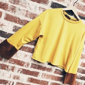 Rags to Raches Tops - New! Cropped Top With Fur